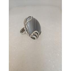 Кольцо с агатом ботсвана.