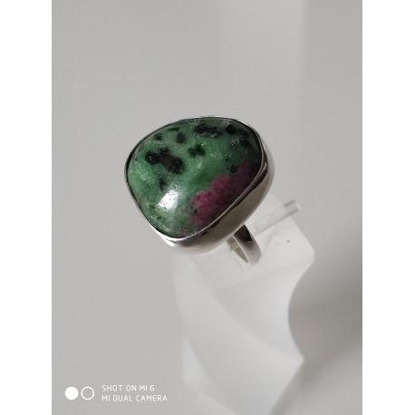 Кольцо с зуазит-рубимайка.
