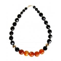 Ожерелье с чёрным ониксом и оранжевым агатом