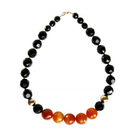 Necklace with black onyx and agate orange