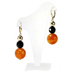 Earrings with black onyx and agate orange