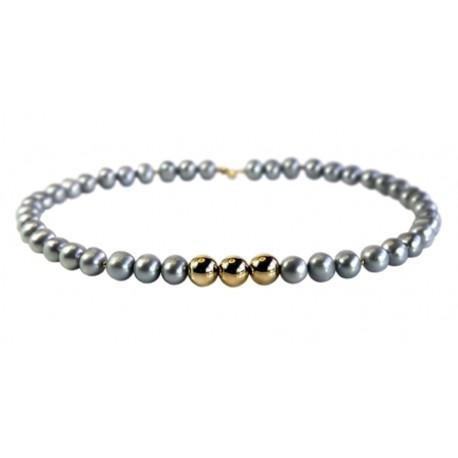 Ожерелье с серым жемчугом