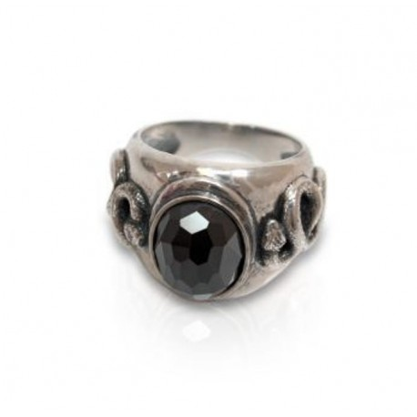 Men's ring with hematite and embos of snake